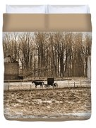 Amish Buggy And Corn Crib Duvet Cover