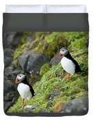 Atlantic Puffin, Fratercula Arctica Duvet Cover