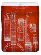 Banjo Patent Drawing From 1882 - Red Duvet Cover