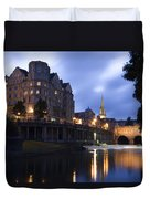 Bath City Spa Viewed Over The River Avon At Night Duvet Cover
