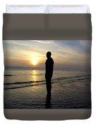 Beach Sculpture At Crosby Liverpool Uk Duvet Cover