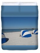 Beach With Beachchairs Duvet Cover