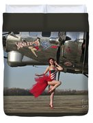 Beautiful 1940s Style Pin-up Girl Duvet Cover