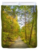 Beautiful Autumn Forest Mountain Stair Path At Sunset Duvet Cover