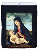 Bellini's Madonna And Child In A Landscape Duvet Cover