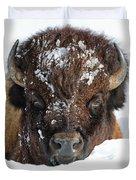 Bison In Snow Duvet Cover