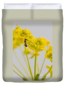 Black Garden Ant On Yellow Flower Duvet Cover