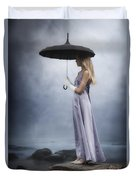 Black Umbrella Duvet Cover
