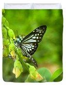 Blue Butterflies In The Green Garden Duvet Cover