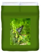 Blue Butterflies In The Green Garden Duvet Cover