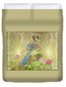 Blue Jay With Texture Duvet Cover