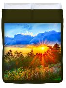 Blue Ridge Parkway Late Summer Appalachian Mountains Sunset West Duvet Cover