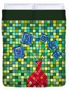 Blue Square Flowers Duvet Cover