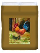 Blue-tailed Rooster Duvet Cover