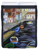 Boats In Front Of The Buildings IIi Duvet Cover