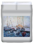 Boats In Rhodes Greece  Duvet Cover