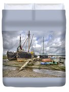 Boats On The Hard At Pin Mill Duvet Cover