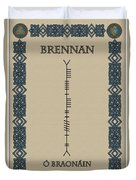 Brennan Written In Ogham Duvet Cover