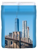 Brooklyn Bridge And New York City Manhattan Skyline Duvet Cover