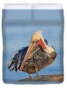 Brown Pelican Preening Duvet Cover