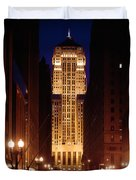 Buildings Lit Up At Night, Chicago Duvet Cover