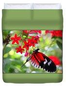 Butterfly On Red Bush Duvet Cover
