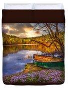 Canoe At The Lake Duvet Cover