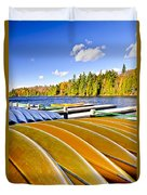 Canoes On Autumn Lake Duvet Cover by Elena Elisseeva
