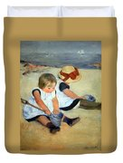 Cassatt's Children Playing On The Beach Duvet Cover