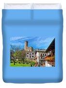 Chatelard Village With Castle Duvet Cover