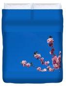 Cherry Blossom Against Blue Sky Duvet Cover