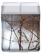 Chickadee On Woodvine Duvet Cover