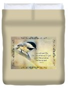 Chickadee With Verse Duvet Cover