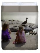 Children At The Pond 3 Duvet Cover