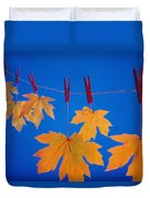 Close-up Of Fall Colored Maple Leaves Duvet Cover