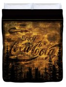 Coca Cola Wooden Sign Duvet Cover