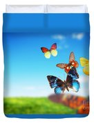 Colorful Buttefly Spring Field Duvet Cover