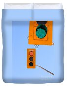 Confusing Green Red Traffic Lights Sky Copyspace Duvet Cover