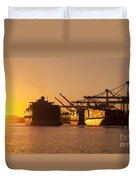 Container Ships Docked In Port Of Oakland Duvet Cover