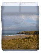 Cornish Seascape Holywell Bay Duvet Cover