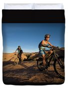 Couple Mountain Biking, Moab, Utah Duvet Cover