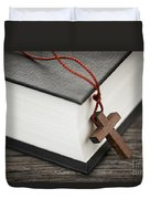 Cross And Bible Duvet Cover by Elena Elisseeva