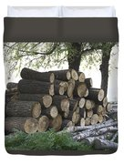 Cut Tree Trunks Piled Up For Further Processing After Logging Duvet Cover