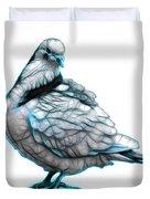 Cyan Pigeon Pop Art 5516 - Fs - Bb -  Modern Animal Artist James Duvet Cover