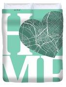 Dallas Street Map Home Heart - Dallas Texas Road Map In A Heart Duvet Cover