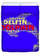 Dolphin Word Cloud Duvet Cover