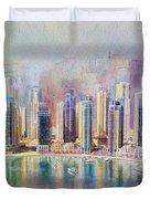Downtown Dubai Skyline Duvet Cover