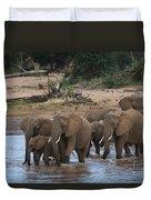 Elephants Crossing The River Duvet Cover
