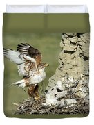 Ferruginous Hawk And Chicks Duvet Cover