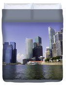 Financial District Of Singapore And View Of The Water In Singapore Duvet Cover